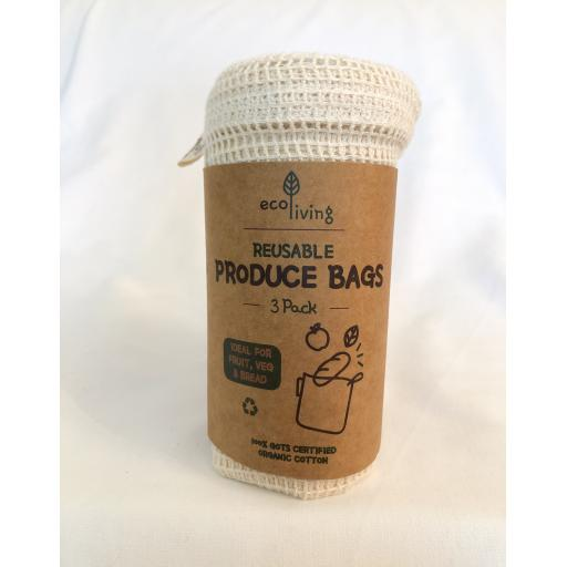 Organic Bread Bag & Produce Bags Pack of Three