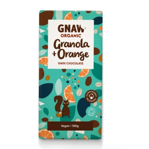 Gnaw Organic Granola & Orange Dark Chocolate Bar (Vegan)