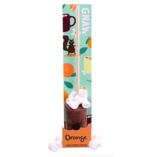 Gnaw Orange Hot Chocolate Stirrer with Mini Marshmallows in Compostable Packaging