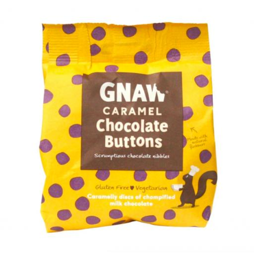 Gnaw Caramel Chocolate Buttons in Compostable Packaging