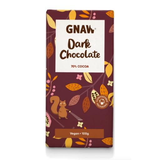 Gnaw Dark Chocolate 70% Cocoa Bar (Vegan)