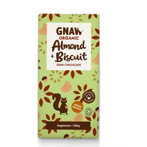 Gnaw Organic Almond & Biscuit Dark Chocolate Bar (Vegan)