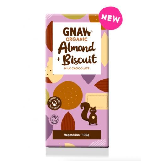 Gnaw Organic Almond & Biscuit Milk Chocolate
