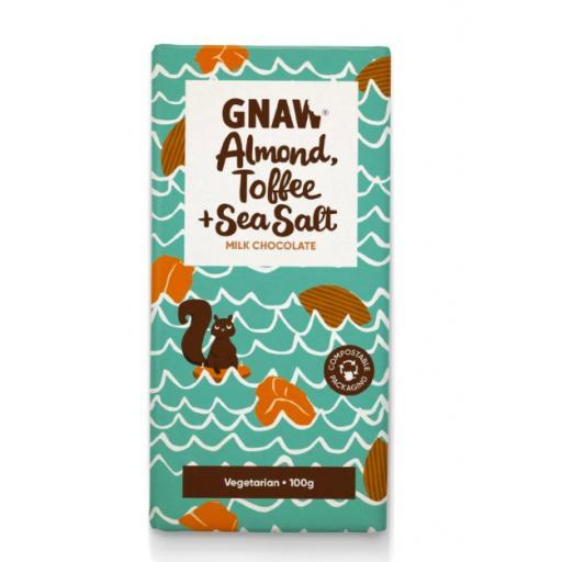 Gnaw Almond, Toffee, & Sea Salt Milk Chocolate Bar