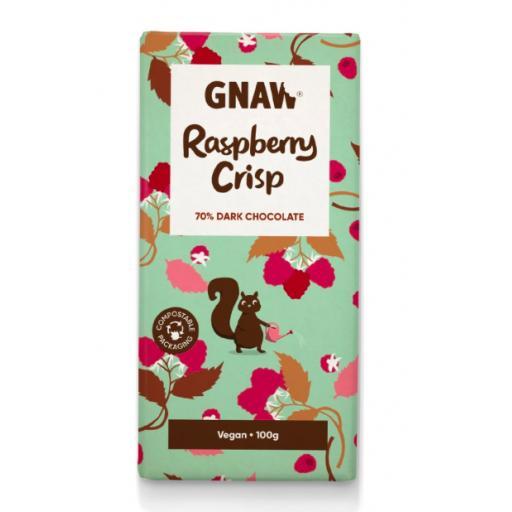 Gnaw Raspberry Crisp 70% Dark Chocolate Bar (Vegan)